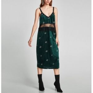 NWT Zara Velour Embroidered Stud Lace Midi Dress M